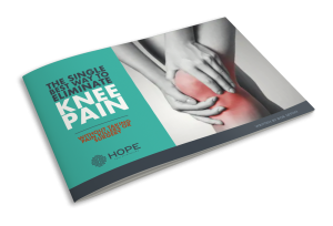 The Single Best Way to Eliminate Knee Pain pamphlet provided by H.O.P.E. Pain Elimination in Miramar Beach, FL
